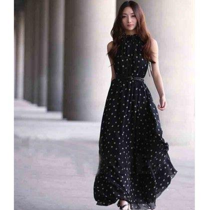 Black Polka Dot Maxi Dress - Angel's Couture