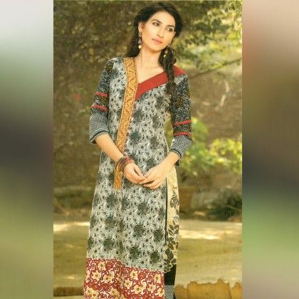Beige And White Unstitched Kurti - Mauve Collection