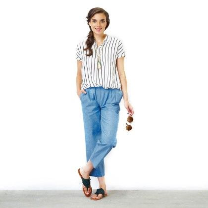 Striped Cap Sleeve Shirt - The Label Life