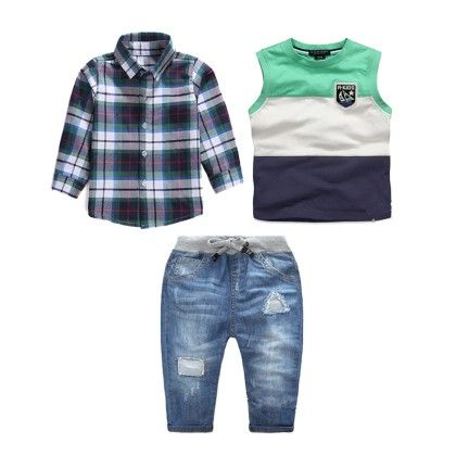 Boy's 3 Piece Checked Shirt, Tank And Denim Set - Dapper Dudes