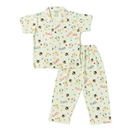 Ufo Print Boys Night Suit - Light Yellow - DoReMe