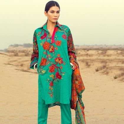 Sana Safinaz Green Embroidered Semistitched Suit - Mauve Collection