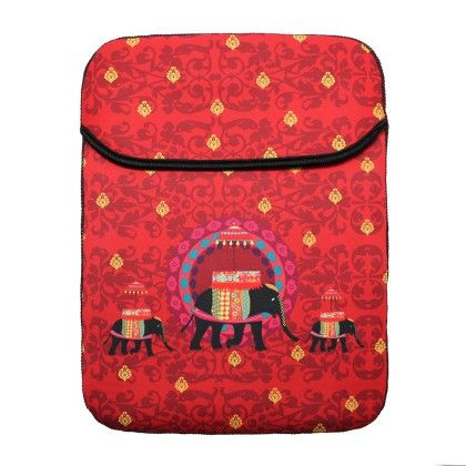 Tablet Sleeve 10inch Red Elephant Butti - The Elephant Company