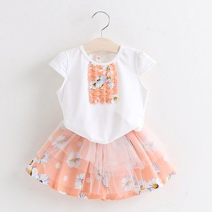 Peach Floral Printed Top & Skirt Set - Lil Mantra