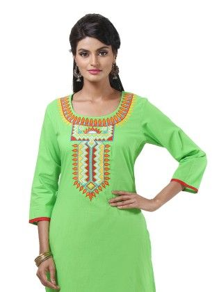 Neck Printed Green Kurti - Riti Riwaz