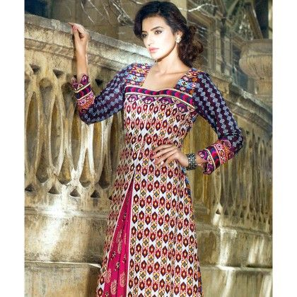 Pink And White Unstitched Kurti - Mauve Collection