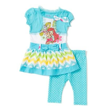 Blue And White Girls Knit Dress And Knit Pant Set - Disney By CAN