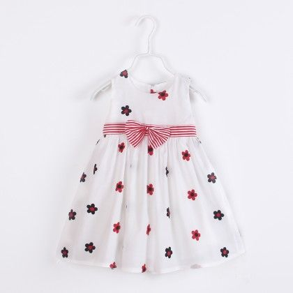 Cute Flower Print Dress With Bow - White - Catmi