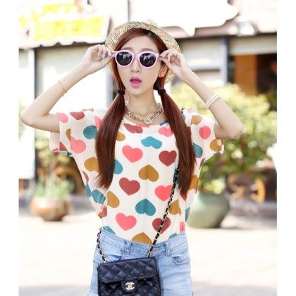 Heart Print Chiffon Top - Dell's World