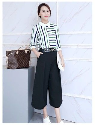 Green Stripes Culottes With Top - Mauve Collection