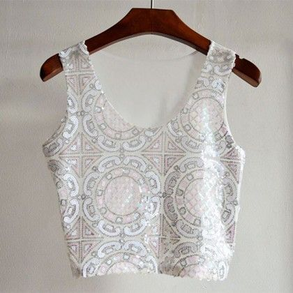 Chic Pink & White Sequinned Crop Top - Fashionistaa 21