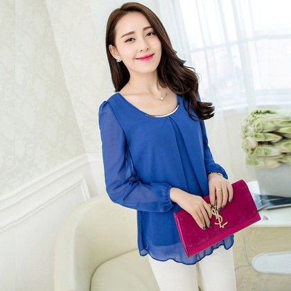Blue Pleat Casual Top - STUPA FASHION