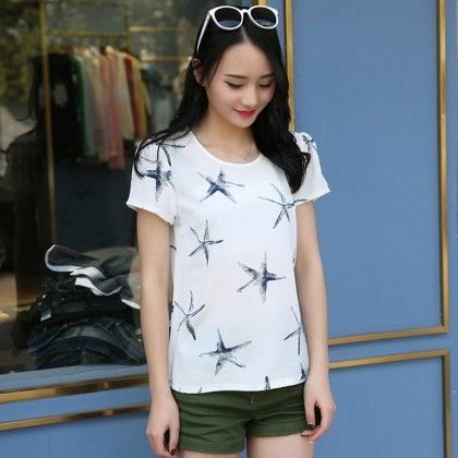 Star Print Chiffon Short Sleeve Top - Dell's World