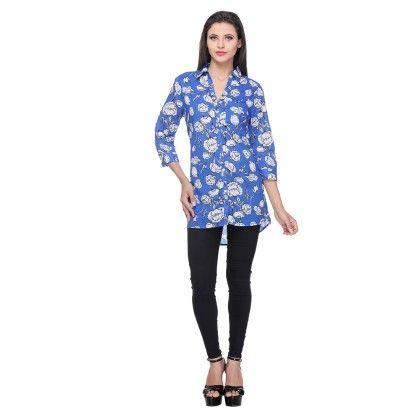 Royal Blue Cotton Printed Floral Printed Shirt - Varanga