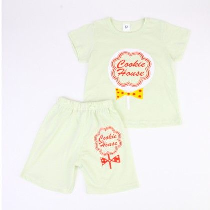Cookie House Print Top And Shorts Set - Green - Ton
