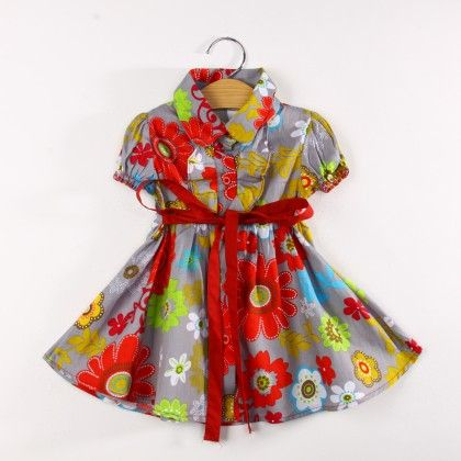 Gray Floral Print Dress With Collar And Sash Tie - Koolee