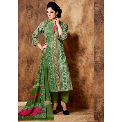 Green & Pink Printed Cotton Dress Material - Afreen