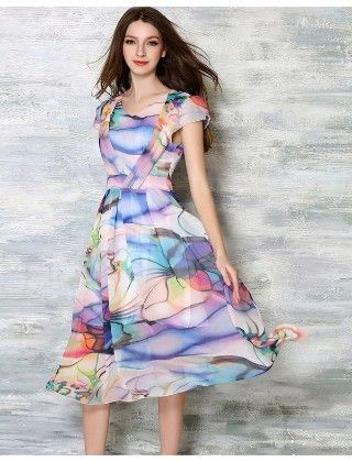 Beautiful Aqua Summer Print Dress - Mauve Collection