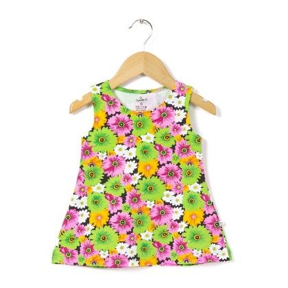 Green Floral Print A Line Frock - Chocoberry