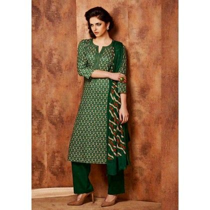 Green Printed Cotton Dress Material - Afreen