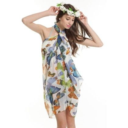 Coverup Beach Dress Sarong - Long Scarf Multi - Ruby Swimwear