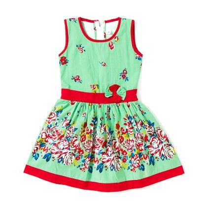 Spring Floral Cotton Dress - Pastel Green - BownBee