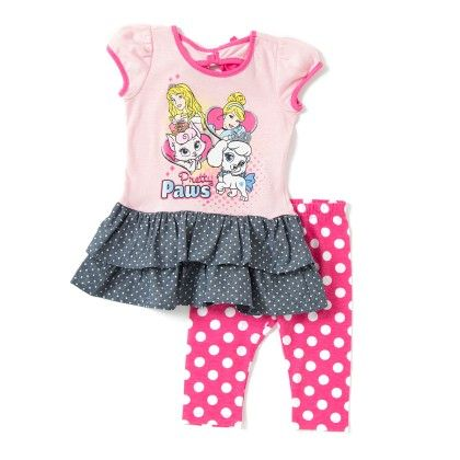 Pink Girls Knit Dress And Polka Knit Pant Set - Disney By CAN
