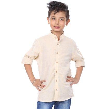 Beige Linen Full Sleeve Shirt For Boys - BonOrganik