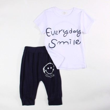 Everyday Smile T-shirt And 3/4th Pant Set - Black - Xia