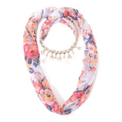 White Floral Neckless Scarf - Fashion Fiesta