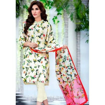 Beautiful Pakistani Style Floral Printed Cotton Dress Material - White - Afreen
