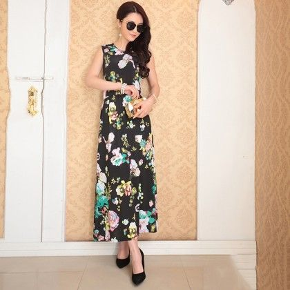 Black Floral Print Summer Long Dress - Dell's World