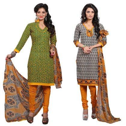 Dual Concept Of Cotton Jacquard Top With Matching Dupatta-2 Top  & 1 Bottom & 1 Duaptta Blue & Red - Varanga