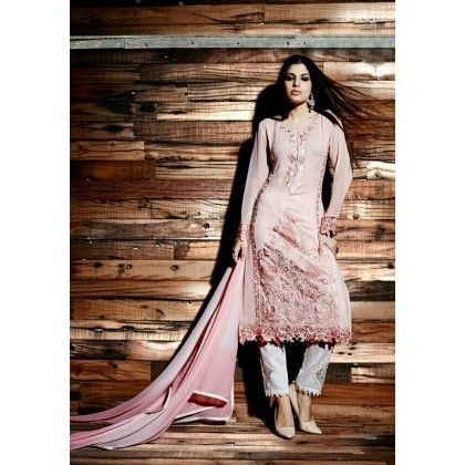 Pret Collection Pink Embroidered Georgette Dress Material - Afreen