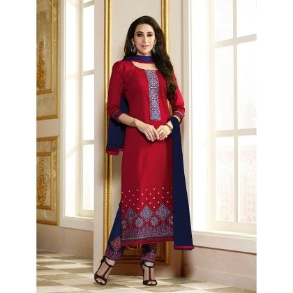 Red Semistitched Embroidery Dress Material - Fabfella - 306735