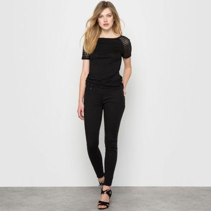 Black Back Lace Basic Top - La Redoute