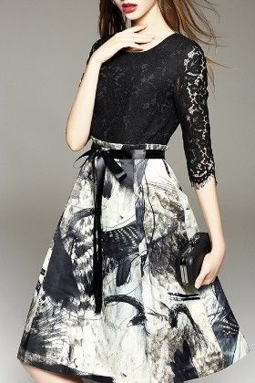 Black And White Lacy Printed Dress - Infinity Store