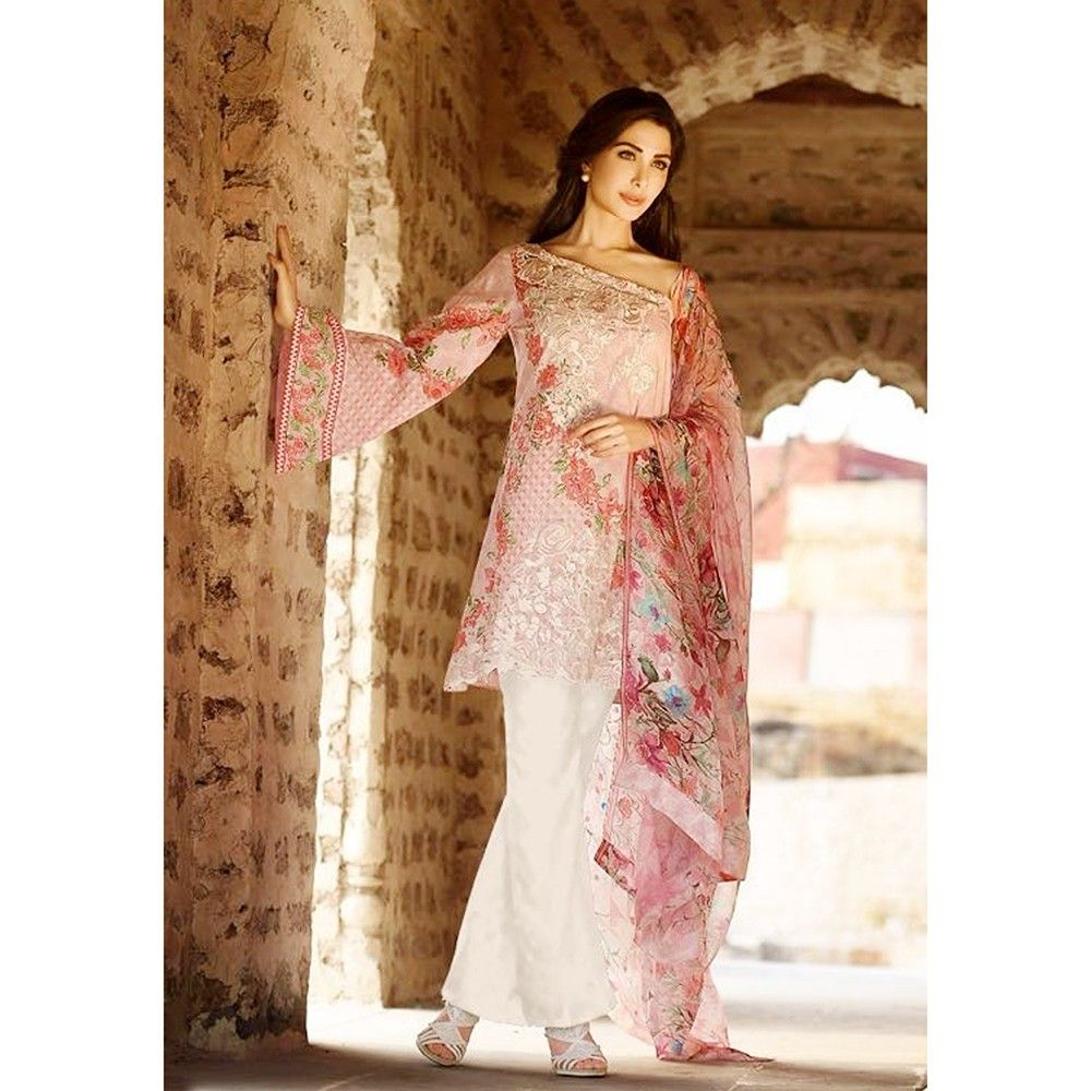 Beautiful Pakistani Style Printed Cotton Dress Material - Lt Pink - Afreen