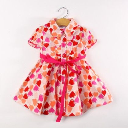 Multi Heart Print Dress With Collar And Sash Tie - Koolee