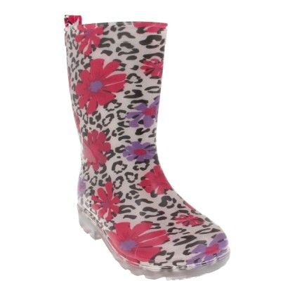 White Combo Shiny Flowers Printed With Jelly Rain Boot - Capelli New York