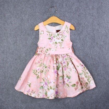 Pink Floral Print Sleeveless Dress - Kehzo Kids