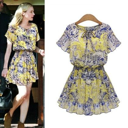 Printed Summer Dress - Yellow - Angel's Couture