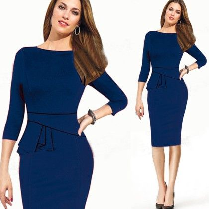 Elegant Blue Pencil Dress - STUPA FASHION