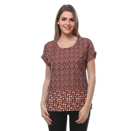 Multicolour Circle Print Top - Varanga