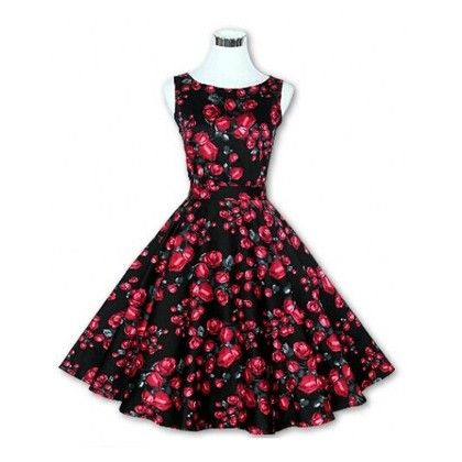 Black Floral Flared Dress - STUPA FASHION