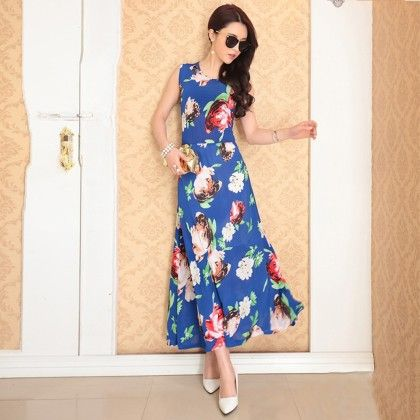 Blue Floral Print Designer Long Dress - Dell's World