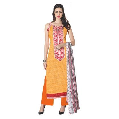 Yellow Exclusive Dress Material With All Over Front And Back Multi Design Print With Printed Dupatta - Varanga