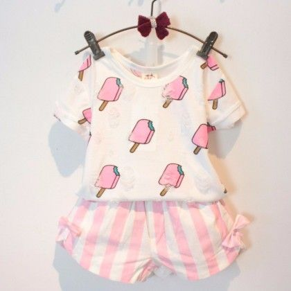Ice-cream Print Top And Shorts Set - Pink - Andy