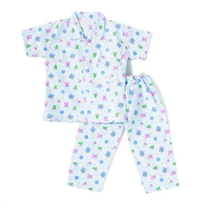 Good Night Teddy Night Suit - Blue - BownBee