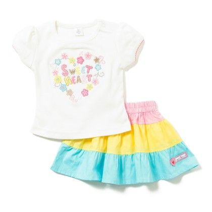 Sweet Heart Print Tee & Skirt Set - White - TOFFYHOUSE